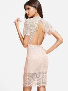 Pink Open Back Lace Overlay Sheath Dress