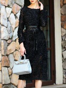 Black Flowers Applique Tie-Waist Lace Dress