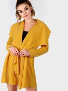 Yellow Waterfall Collar Wrap Coat