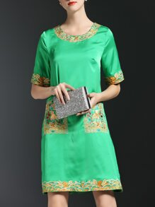 Green Vintage Embroidered Shift Dress