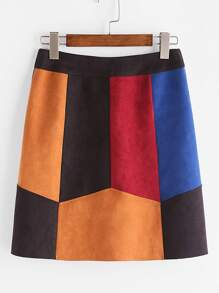 Color Block Suede Paneled Skirt