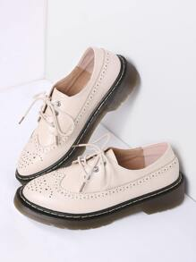 Apricot Lace Up PU Flat Shoes