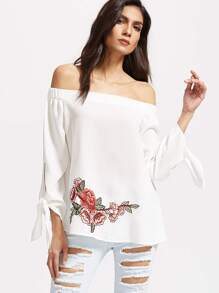 White Embroidered Rose Patch Off The Shoulder Top