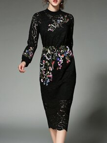 Black Flowers Embroidered Lace Sheath Dress