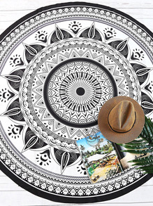 Black And White Tribal Print Vintage Round Beach Blanket