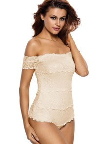 Apricot Off The Shoulder Lace Teddy