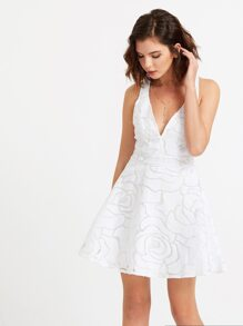White Deep V Neck Open Back Mesh Overlay Dress