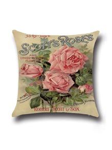 Khaki Rose Print Linen Cushion Cover