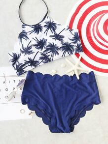 Blue Coconut Tree Print Scalloped Trim Bikini Set