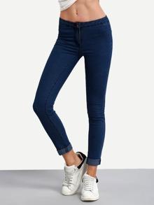 Navy Roll Hem Skinny Jeans