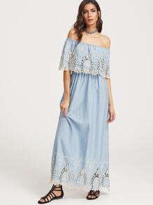 Blue Lace Insert Layered Embroidered Off The Shoulder Dress
