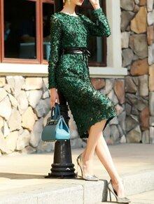 Green Flowers Applique Tie-Waist Lace Dress
