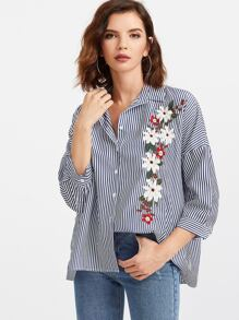 Blue Vertical Striped Flower Embroidery Blouse