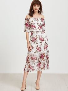 White Rose Print Lace Overlay Off The Shoulder Dress