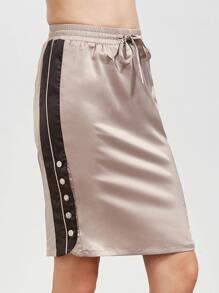 Pink Buttoned Contrast Side Drawstring Waist Skirt