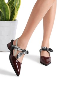 Burgundy Plaid Tie Patent Leather Chunky Heel Pumps