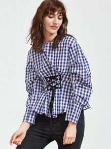 Blue Checkered Puff Sleeve Lace Up Front Top