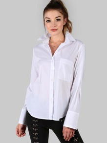 White Striped Curved Hem High Low Shirt