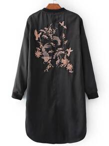 Black Embroidered Back Slit Side Jacket