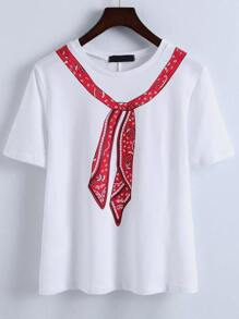 White Tie Print T-shirt