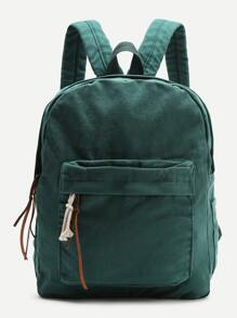 Dark Green Zipper Front Canvas Backpack