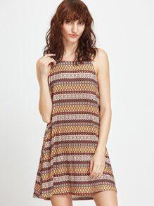 Multicolor Tribal Print Low Side Cami Dress