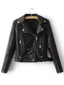Black Oblique Zipper Moto Jacket With Buckle