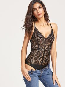 Black Crisscross Back Sheer Lace Bodysuit