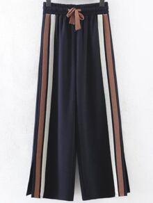 Navy Striped Slit Side Wide Leg Pants