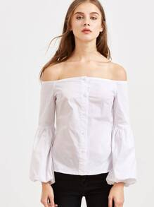 White Off The Shoulder Lantern Sleeve Button Down Blouse