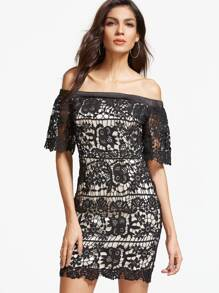 Black Embroidered Lace Overlay Off The Shoulder Dress
