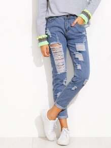 Blue Roll Hem Distressed Jeans