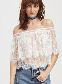 White Off The Shoulder Sheer Floral Lace Cape Top