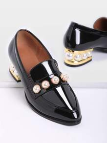Black Pearl Detail Chunky Heeled Patent Leather Loafers
