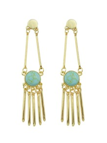 Blue Color Turquoise Spike Long Drop Earrings