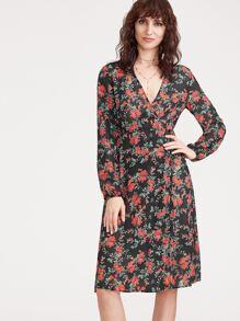 Black Floral Print Surplice Wrap Dress