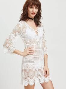 White Lace Up Plunge Neck Hollow Out Embroidered Lace Dress