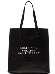 Black Slogan Print Canvas Tote Bag