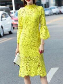 Neon Green Bell Sleeve Crochet Hollow Out Dress