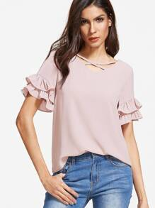Pink Crisscross V Neck Layered Ruffle Sleeve Top