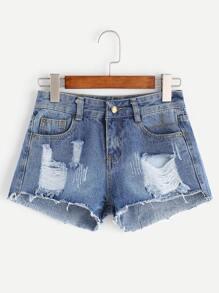 Light Blue Ripped Raw Hem Denim Shorts