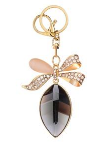 Gold Rhinestone Encrusted Bow Keychain