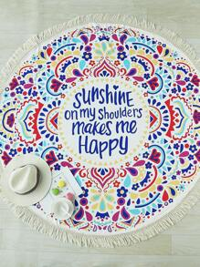 Multicolor Letter Print Fringe Design Round Beach Blanket