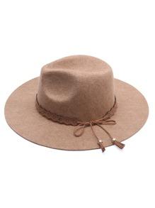 Khaki Wide Brim Hat With Bow Tie