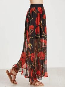 Black Floral Print Mesh Overlay Long Skirt