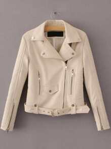 Beige Oblique Zipper Moto Jacket With Buckle