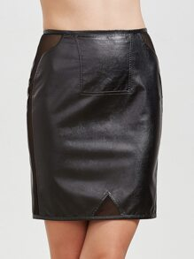 Black Mesh Insert Faux Leather Skirt