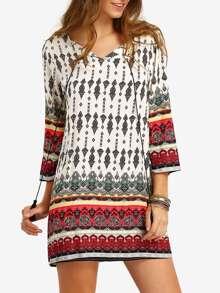 Multicolor Split Tie Neck Tribal Print Dress