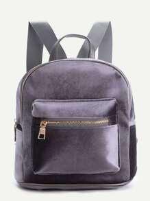 Grey Zipper Detail Velvet Backpack