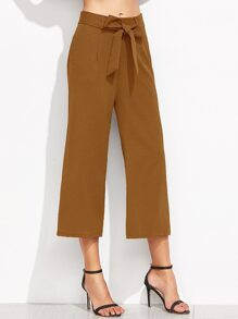 Brown Self Tie Wide Leg Pants